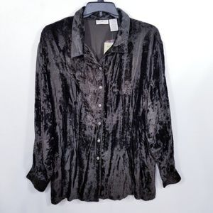Crushed Velvet Mustang Color L/S Top - 22/24W -NWT